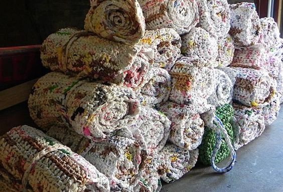 image of sleeping mats made out of plastic bags